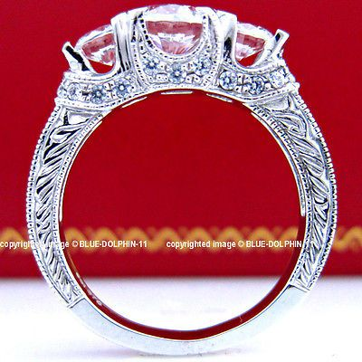 Antique Genuine Solid 9ct White Gold Engagement Wedding Rings Simulated Diamonds