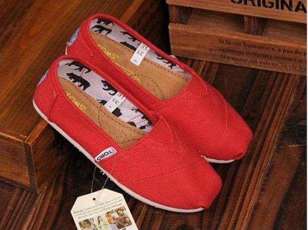 Toms Kids Shoes Red Canvas Youth Classics