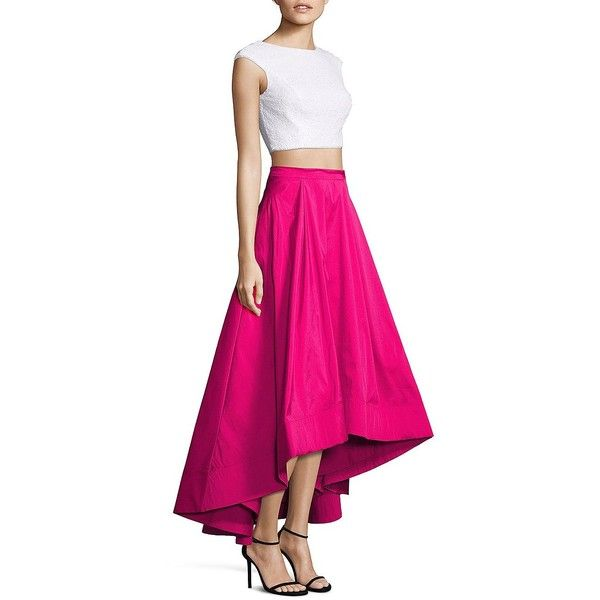 Aidan Mattox Two-Piece Sequin Cropped Top & Hi-Lo Skirt (€76) ❤ liked on Polyvore featuring aidan mattox