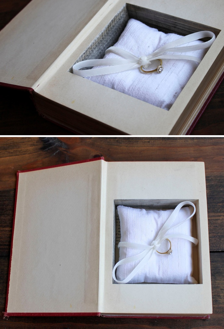 Cute engagement idea - put the ring in a secret compartment book