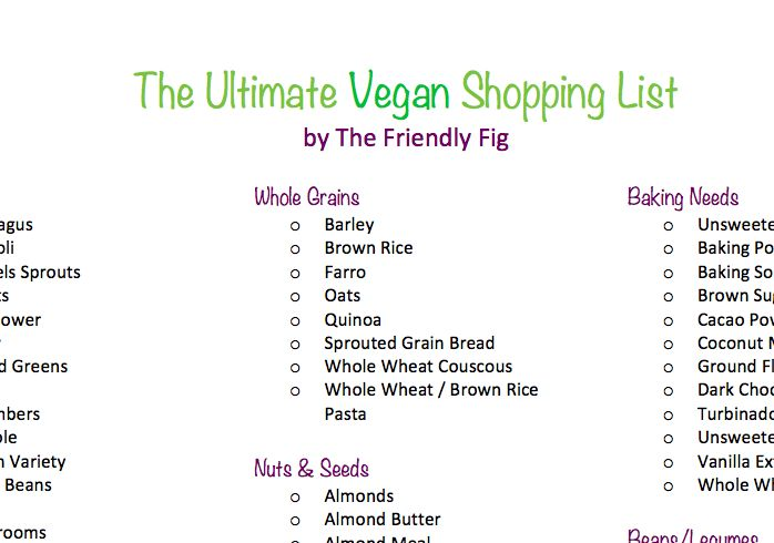 Ultimate Vegan Shopping List