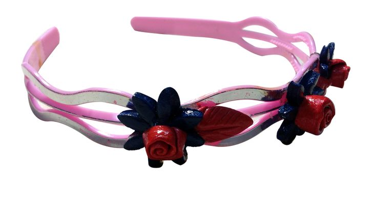 Blue-Red color flower Hair-band (three flowers), made of mineral  clay, designed and crafted by village women, giving a new   fashion style to hair accessories.   Color: Blue and Red   Material: Imported Rubber sheets   Base material: Imported plastic Hair-band