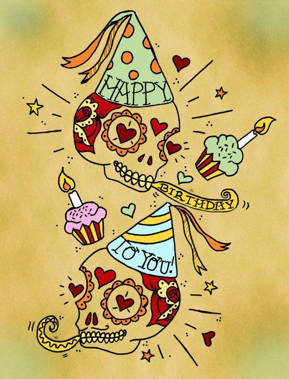 Sugar Skull joyeux anniversaire carte jour du par DiabloJos sur Etsy