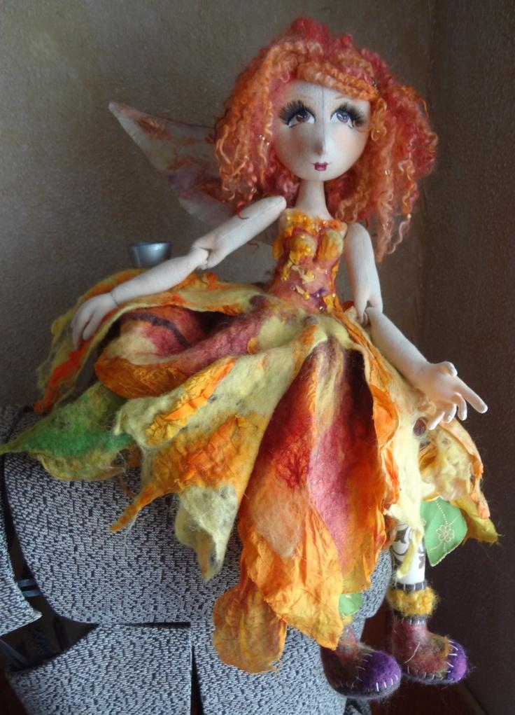 Nuno Felted Flower Fairy - Sunshine- by Marie Carter. $168.00, via Etsy.