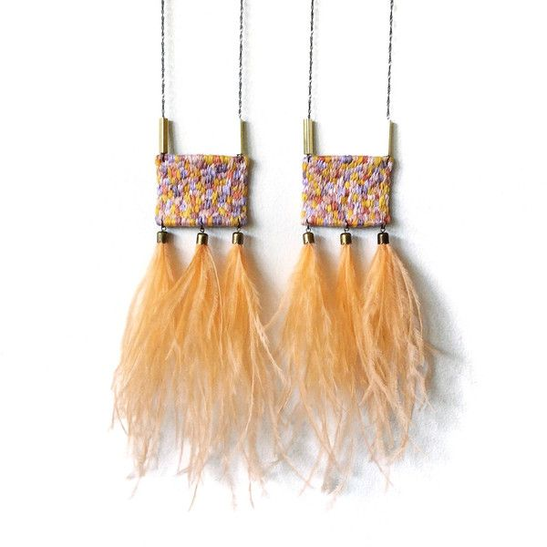Hand Embroidered Ostrich Feather Tassels Peach Salmon Purple Blush... ($120) ❤ liked on Polyvore featuring jewelry, mustard jewelry, pink jewelry, purple jewellery, tassel jewelry and geometric pendant