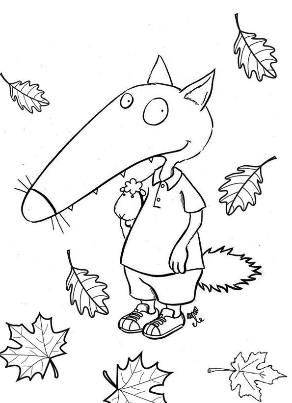 coloriage loup automne