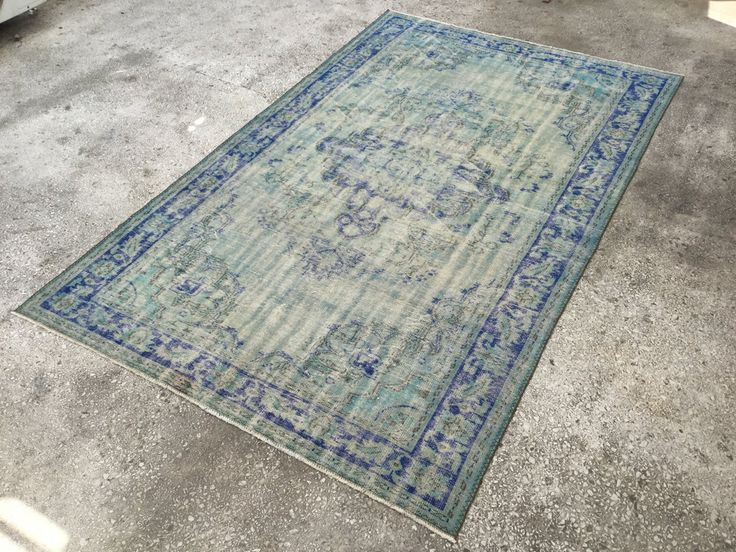 Parliamentary & Turquoise Blue Turkish ANATOLIAN OVERDYED Rug 10'4 x 6'8 Carpet by EclecticRug on Etsy
