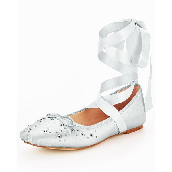 V By Very Alicia Stud Lace Tie Ballerina Silver ($28) ❤ liked on Polyvore featuring shoes, tie shoes, ballet shoes, lacy shoes, silver ballet shoes and ballerina shoes