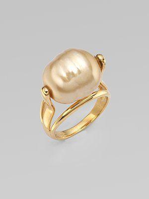 Majorica golden pearl ring