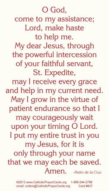 St. Expedite Prayer Card