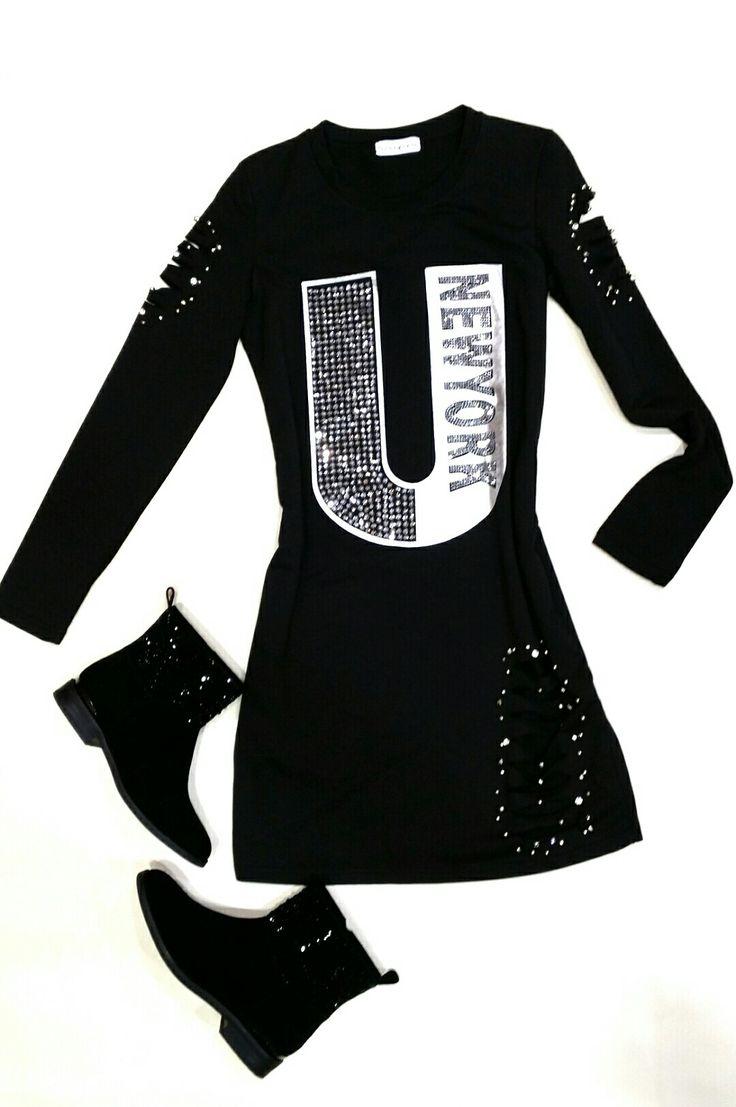 Vestido de algodón con detalles de strass. Combínalo con botines bajos: ALMA EN PENA GIOSEPPO