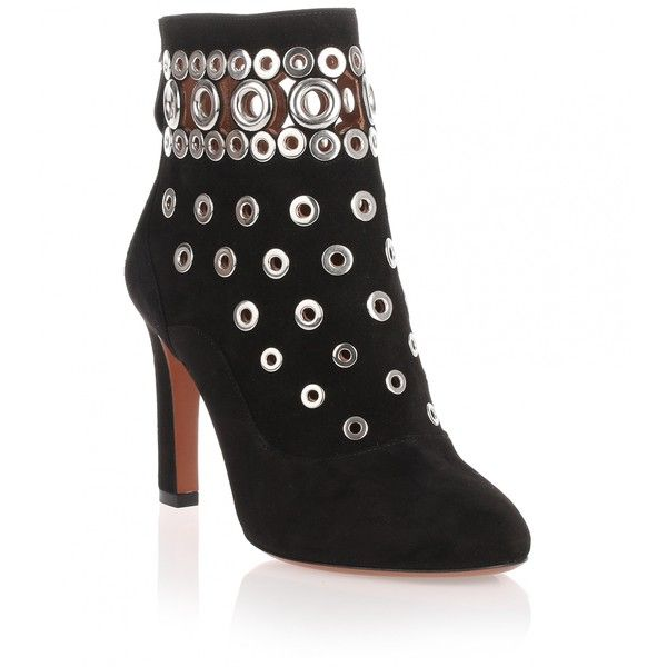 Alaïa Black Suede Eyelet Boot (13 915 ZAR) found on Polyvore featuring  women's fashion