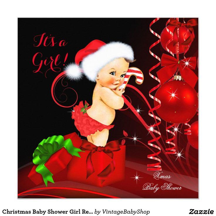 Christmas Baby Shower Girl Red Black Brunette Invitation