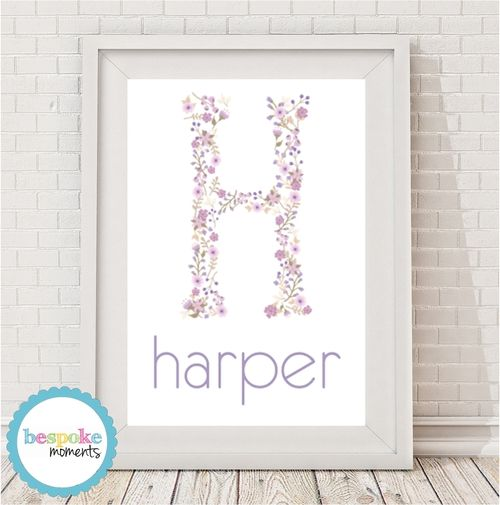 Lavander Floral Monogram Name Print by Bespoke Moments. Worldwide Shipping Available.