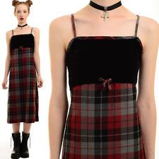 Vtg 90s Grunge SHADOW PLAID Velvet Preppy SCHOOLGIRL Pinafore Jumper Midi Dress