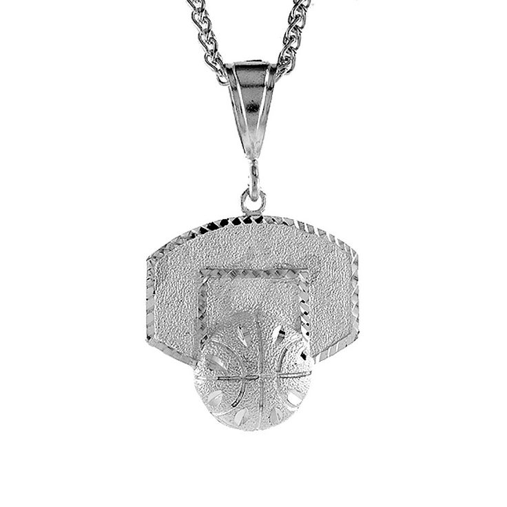 Sterling Silver Basketball Backboard Pendant, 1 1/2 inch tall. Excellent qualiy finish and clear design. solid Sterling Silver.