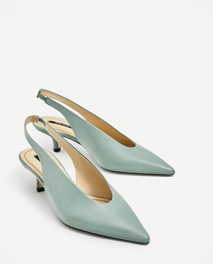 Image 3 of SLINGBACK LEATHER HIGH HEEL SHOES from Zara