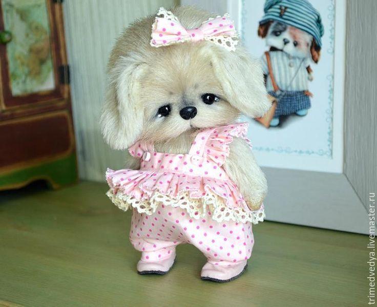 Купить Лиза - бежевый, собака, девочка, подарок, сувенир, ручная авторская работа, три медведя