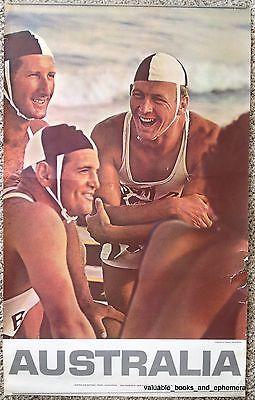 c1960 AUSTRALIA Bondi Lifeguards Original Vintage Travel Poster BEACH Sydney OZ