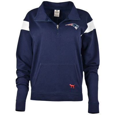 Women's New England Patriots PINK by Victoria's Secret Navy Bling Half-Zip Pullover Jacket