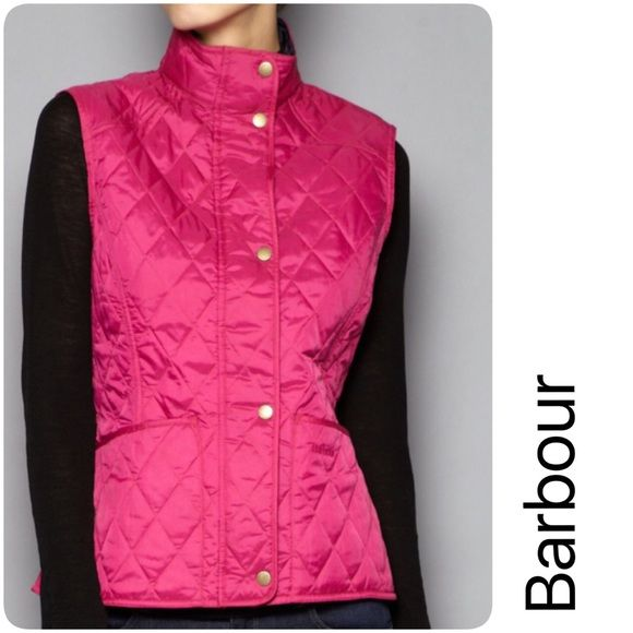 Barbour Vest Liddesdale Jacket, fitted shape is both flattering and comfortable, diamond quilt, signature Liddesdale pockets. Never worn.  100% Polyamide outer fabric. Black image for back view/styling--actual jacket is pink. Barbour Other