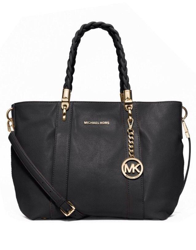 1547ace1cb7e5f Michael Kors Naomi Black Leather Braided Handles Large Shoulder Tote Bag  Satchel #MichaelKors #TotesShoppersShoulderBagSatchel