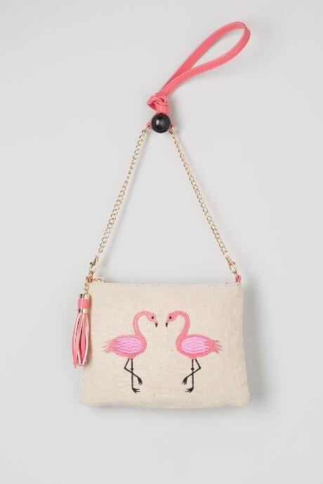 Flamingo Canvas Crossbody Clutch