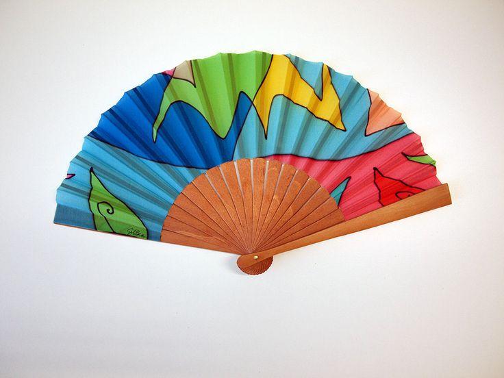 Handpainted Silk hand fan-Wedding hand fan-Giveaways-Bridesmaids-Spanish hand fan-Blue-green hand fan-14 x 7.5 inches (35 cm x 19 cm) de gilbea en Etsy