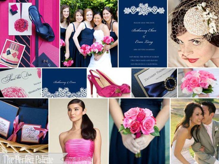 fuchsia, light pink, and navy blue http://www.theperfectpalette.com/2010/06/fun-summer-wedding-palette-of-fuchsia.html