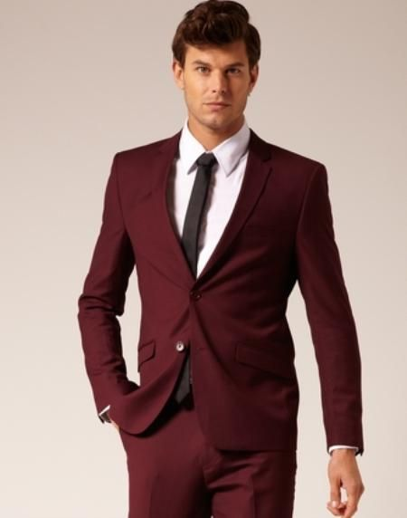 SKU#VT6740 Mens 2 Button Style Suit Burgundy flat front pants $179 Fashion Color Suits Burgundy Suits