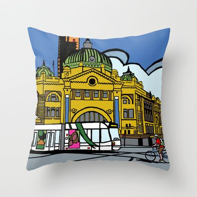 Flinders Street Station Throw Pillow by Upcyclepatch - $20.00 - free worldwide shipping till  Sunday