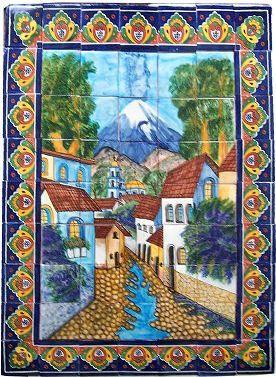 Volcano clay talavera tile mural talavera pinterest for Clay tile mural