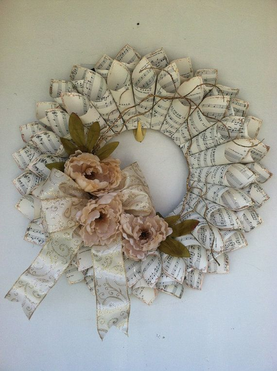 Sheet Music Wreath by Flowersnfrills on Etsy, $50.00