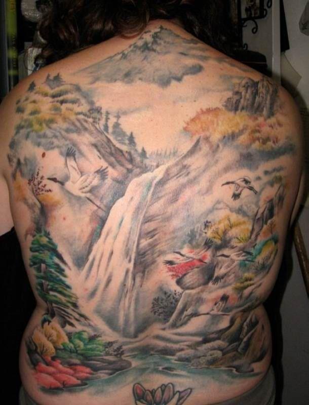 waterfall landscape tattoo back tattoo tattooed tattoos back tattoos pinterest back. Black Bedroom Furniture Sets. Home Design Ideas