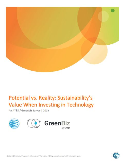 "GreenBiz in conjunction with AT&T conducted a survey on how Information and Communications Technology (ICT) decisions are influenced by organizations' sustainability efforts. The resulting report, ""Potential vs. Reality: Sustainability's Value When Investing in Technology"" highlights five strategies for working more closely with ICT executives and the broader C-suite."