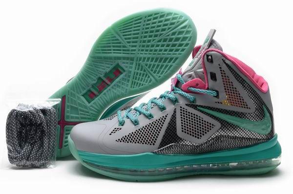 New All Pink Lebrons 2013 | Nike Lebron 10 Men: Cheap Lebron 10 Green Pink Grey