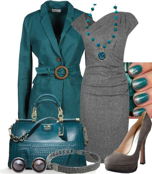 """I must have this coat! """"Teal & Gray"""" by gangdise on Polyvore - Gray dress, gray heels, teal trench coat, teal leather handbag - Cute, and so put together! #purse #shoes"""