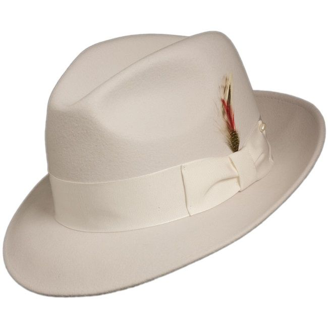 Mens White Fedora Hat 100% Wool Untouchable Dress Hat 8345