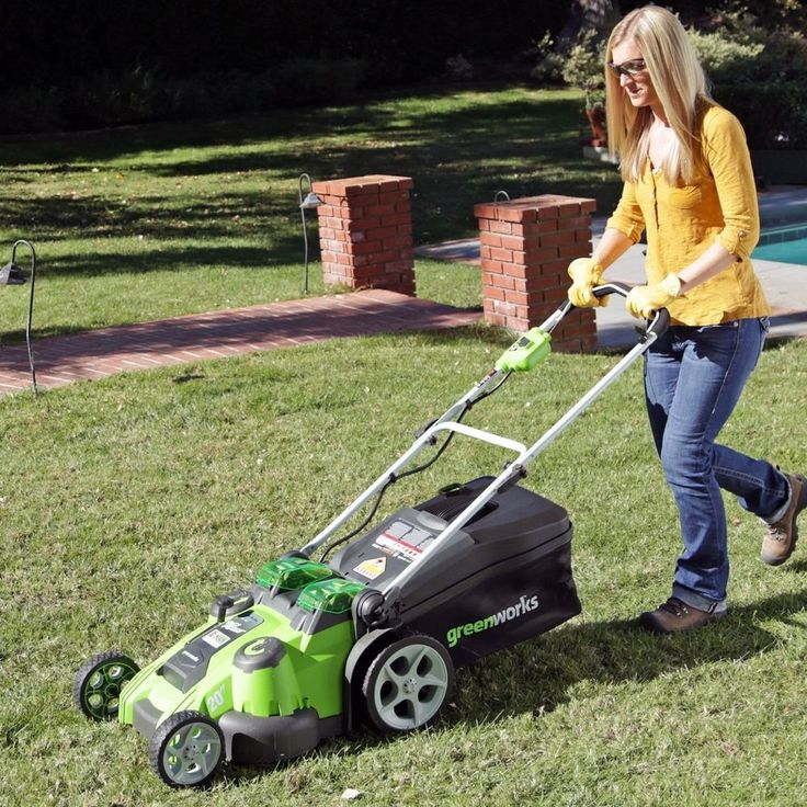 Cordless Lawn Mower Battery Powered Electric 40V Lithium Ion Yard Grass Push Mow #Greenworks