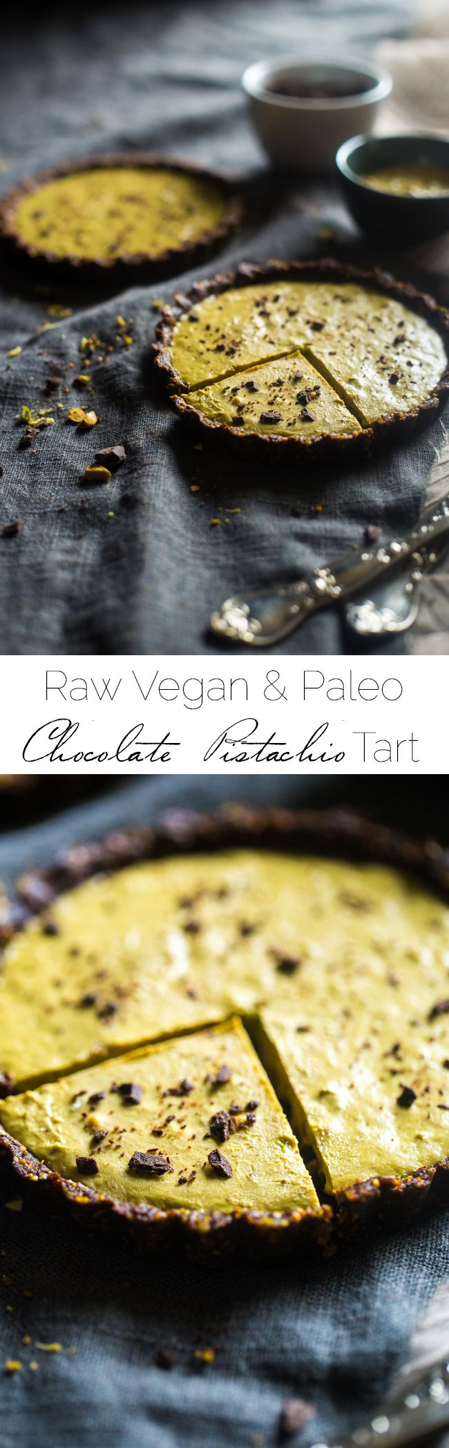 6 Ingredient Paleo and Vegan Raw Chocolate Pistachoo Tarts - This vegan tart is made with only 6 ingredients! It's a healthy gluten free and paleo dessert that is easy to make! Perfect for Christmas! |  |