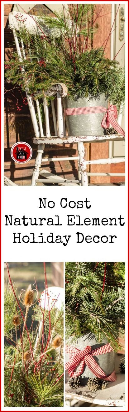 These ideas are great as they are..and also great as a base for adding bright red and white flowers or whatever other flowers are available.  Natural Element Christmas Decor