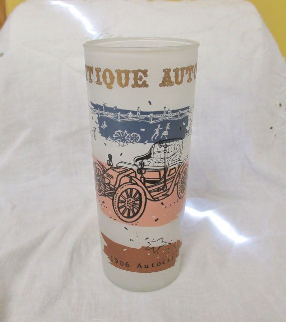 Vintage Frosted Antique Auto GLass Tumbler  by DebsPickerSouL
