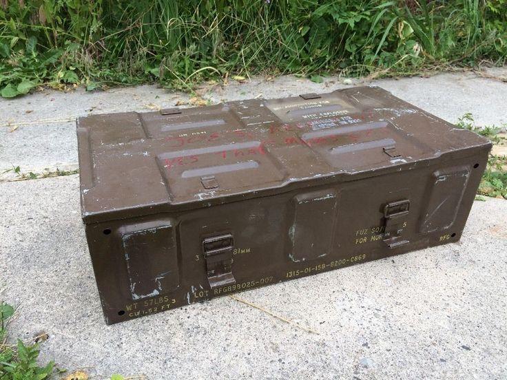 Vintage Army Ammo Ammunition Cannon Military Box Storage