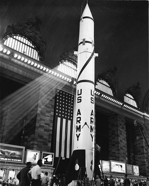 """The PGM-11 """"Redstone"""" - the World's first nuclear missile displayed in Grand Central Station, July 7, 1957. In 1961, for more peaceful purposes, a Redstone launched Alan Shepherd in his Mercury capsule into space - the first American in space. Mona Evans, """"Sky of Grand Central Terminal - History"""" http://www.bellaonline.com/articles/art301156.asp"""