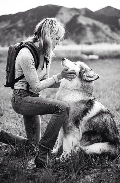 Girl and husky