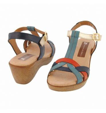 "Sandalias cuña madera tiras forma de ""T"" - Paula Alonso - Tienda online"