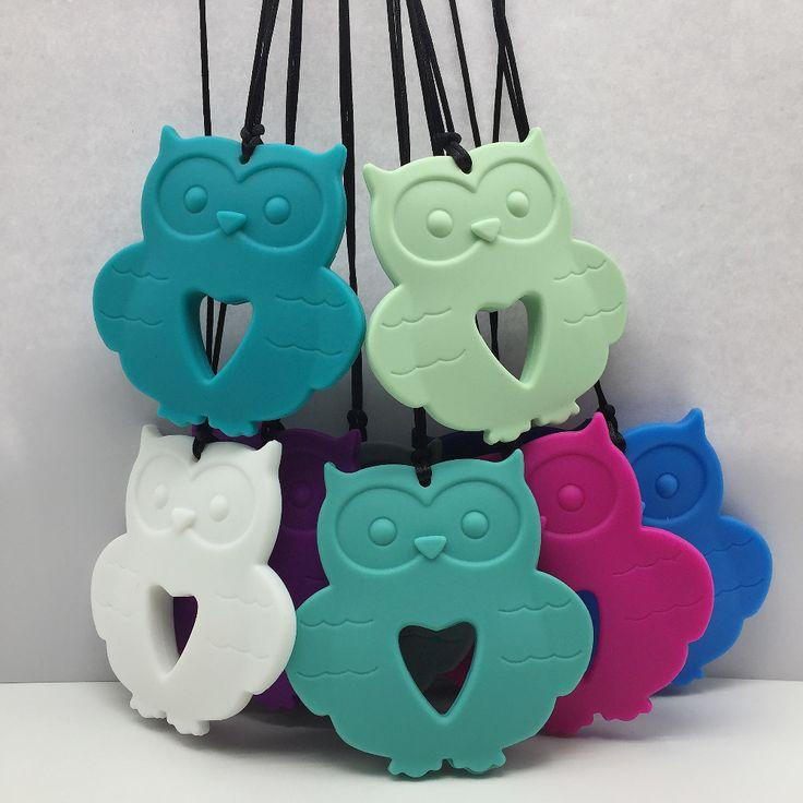 owl silicone Baby Teething Necklace, Owl siliconeTeething pendant Owl Silicone Teether Pendant for Nursing