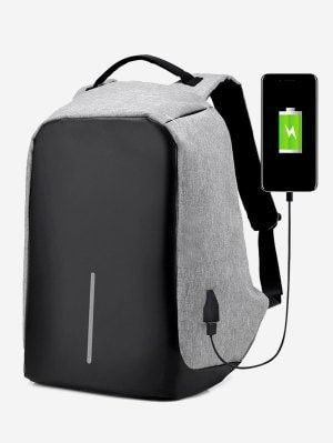 Straight Line USB Charging Port Backpack - Gray