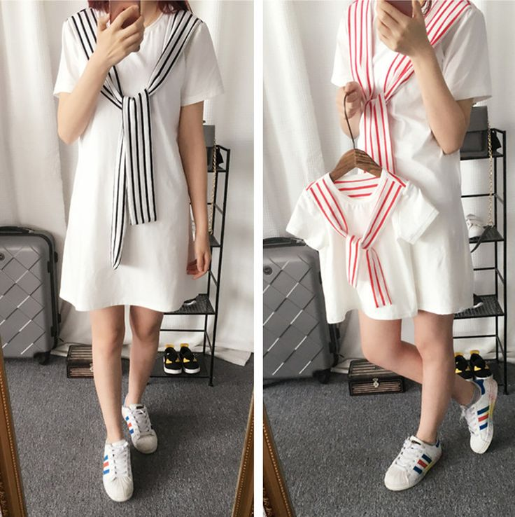Mother Daughter Short Sleeve Navy Striped Dresses T Shirt Family Matching Outfits Clothes Cotton Family Look children's vestidos
