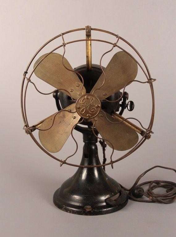 Antique Brass Blade Fan, GE BMY Electric Fan